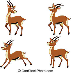 various funny expressions gazelle - vector illustration of...