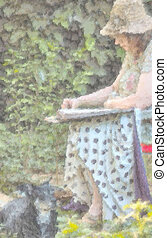 artist at work and helper - illustrqative image of artist at...