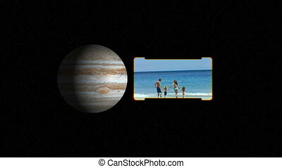 People on the beach with images of