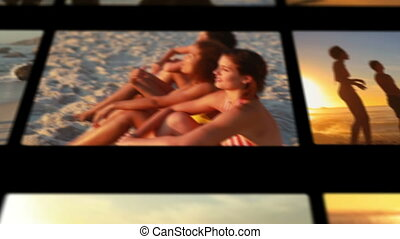Female friends enjoying the beach a - Animation of female...