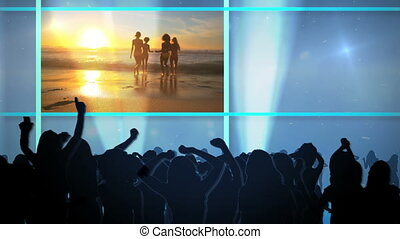 Club on the beach - Animation with videos of club and people...