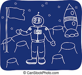 Drawing of an astronaut on the planet