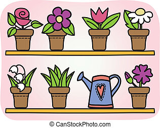Flowers in pots illustration - Illustration of flowers in...