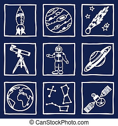 Space and astronomy icons - Illustration of space and...