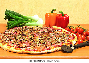 Pizza with tomato, green onion and pepper