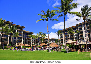 Palm trees and condos, Maui - View from luxury hotel,...