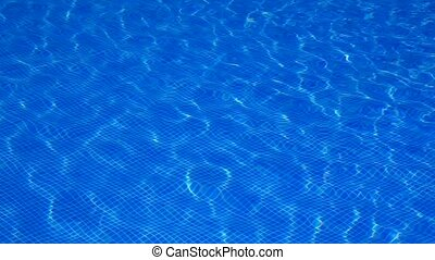 blue tiles pool water reflection ripple as a summer vacation...