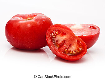 red tomato vegetable with cut isolated on white background