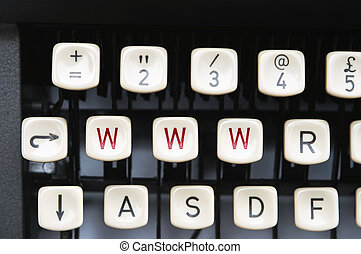 Intenet Typewriter - Close up of old manual typewriter keys...