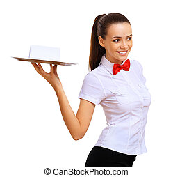 Young waitress in a white blouse - A young waitress in a...