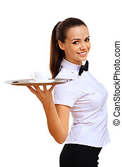Young waitress in a white blouse - A young waitr