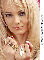 aggressive golden jewelry girl #2 - picture of aggressive...