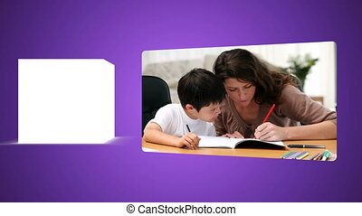 Parents helping their child to do t - Animation of parents...