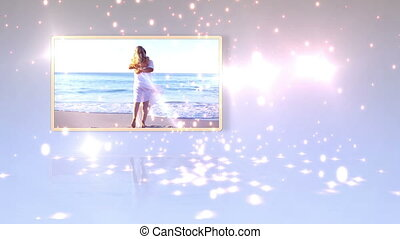 Videos of newlyweds on the beach - Animation with videos of...