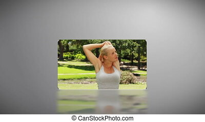 Woman working out in a park - Animation of a woman working...