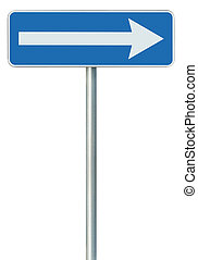 Right traffic route only direction sign turn pointer, blue...