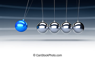 newton cradle - Rendering of newtons cradle with a blue ball