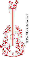 Guitar with floral elements for art or musical design