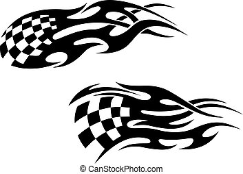Racing tattoos - Chequered flag with black flames as a...