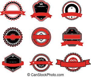 Set of retro labels in black and red colors