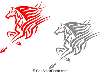 Horse mascots in tribal style for tattoo or emblem design