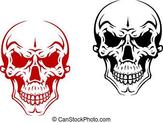 Human skull for horror or halloween design