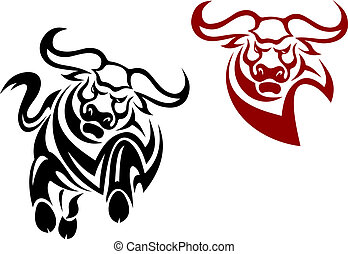 Bull and buffalo mascots isolated on white background