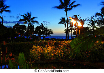 Maui beach resort - View from luxury hotel, Kaanapali, Maui,...