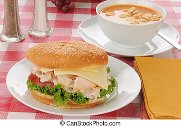 chicken sandwich with tomato bisque - A chicken breast...