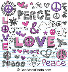 Peace and Love Sketchy Doodles Vector - Peace Love Sketchy...