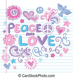 Peace & Love Sketchy Doodles Vector - Peace & Love Sketchy...