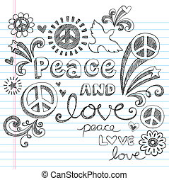 Peace and Love Sketchy Doodles Set - Hand-Drawn Peace Sign...