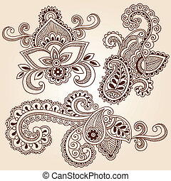 Henna Notebook Doodles Vector Set - Henna Paisley Flowers...
