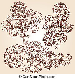 Henna Notebook Doodles Vector Set - Hand-Drawn Henna Paisley...