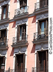 Mediterranean architecture in Spain. Old apartment building...