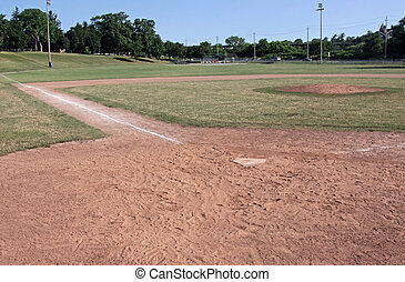 Ball Field - A unoccupied baseball field, shot from behind...