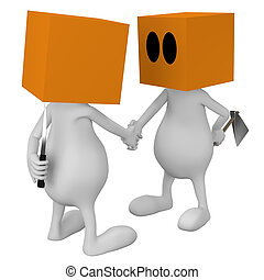 handshaking with bad intentions - 3d little cute people with...