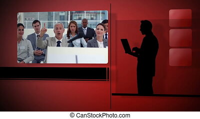 Business videos against red backgro - Animation of business...