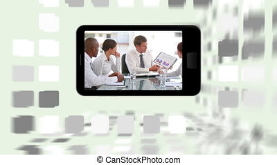 Videos of business meetings on a sm - Animation of videos of...