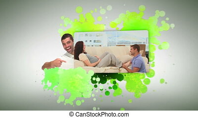 Man playing with his pregnant woman - Animation of a man...