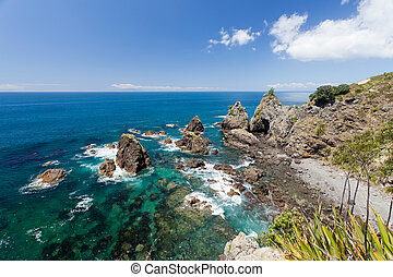 Steep Coastal Cliff Landscape with green clear ocean water