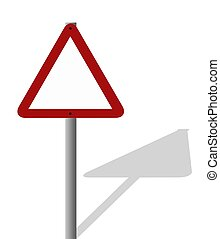 Blank sign with shadow - A triangular road sign left blank...