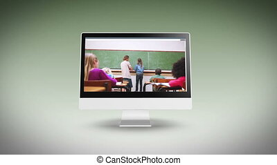 Videos of a classroom on a computer - Animation with videos...
