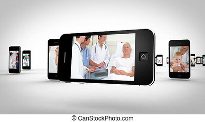 Videos of a hospital on smartphones - Animation with videos...