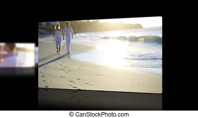 Videos of a couple at sunset - Animation with videos of a...