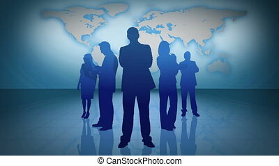 Business people silhouettes with sc - Animation of business...