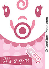 Pink Baby Girl Invitation Card