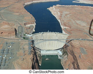 Aerial view of Hoover Dam and the Colorado River Bridge -...