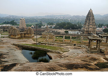Temple Towers at Hampi - View of Towers of Virupaksha Temple...