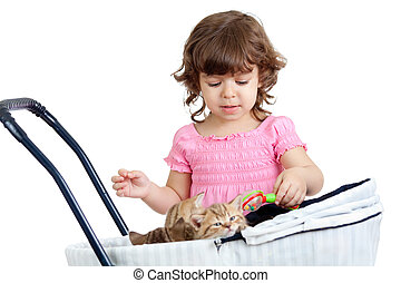 child playing with kitten